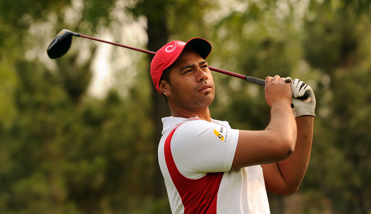 LONGKOU CITY, China- Kirk Tuaiti of the Cook Islands pictured at the Asia -Pacific Amateur Championship at Nanshan International Golf Club, Garden Course during an official practice round Ð Wednesday, October 23, 2013. Picture by David Paul Morris/AAC.