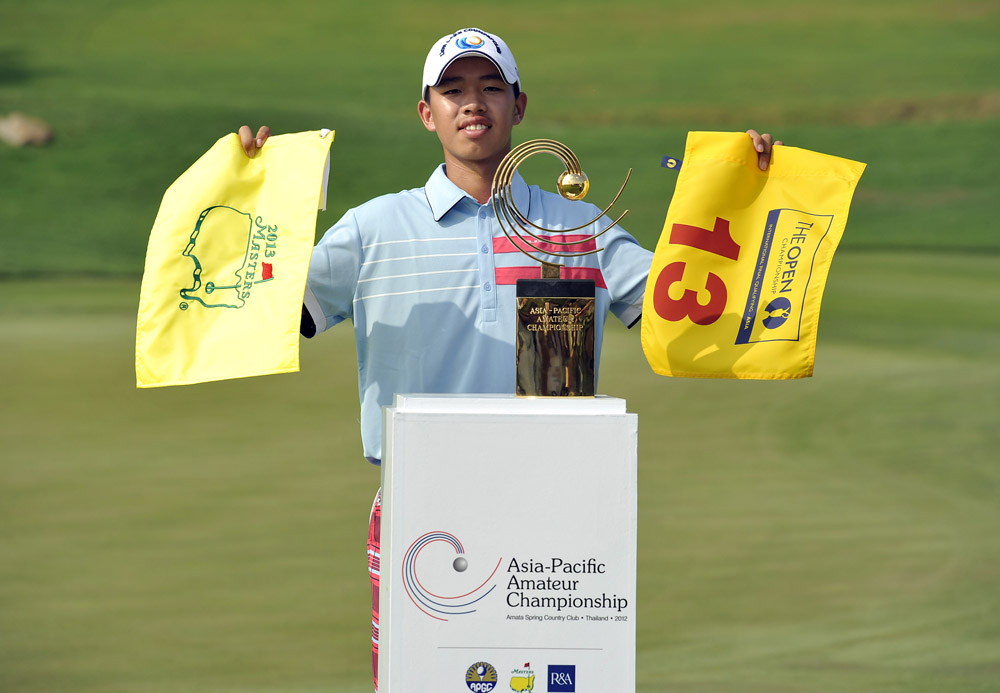 Guan Tianlang after winning the 2012 Asia-Pacific Amateur Championship (Augusta National/Getty Images)