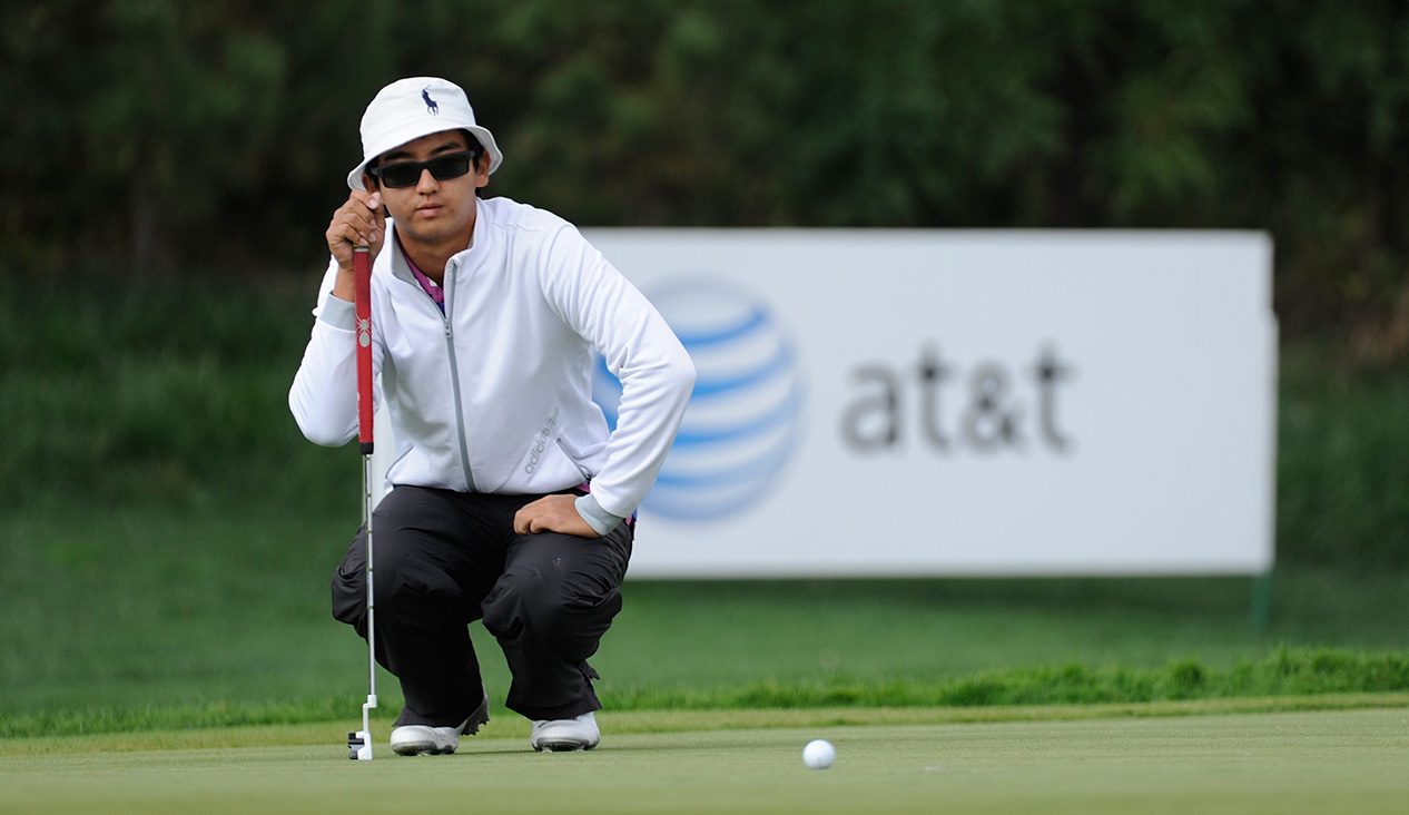 LONGKOU CITY, China: Dou Zecheng of China is pictured at the Asia -Pacific Amateur Championship at Nanshan International Golf Club, Garden Course during round two on Friday, October 25, 2013. Picture by David Paul Morris/AAC.