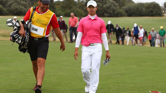 Melbourne, Australia: Guan Tianlang of China pictured at the 2014 Asia-Pacific Amateur Championship at the Royal Melbourne Golf Club during round 3 on October 25, 2014. (Photo by Ian Knight/AAC)
