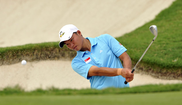Jonathan Woo of Singapore practises at Amata Spring Country Club in Thailand on Wednesday ahead of this week's Asia-Pacific Amateur Championship. Photo: Paul Lakatos/AAC.