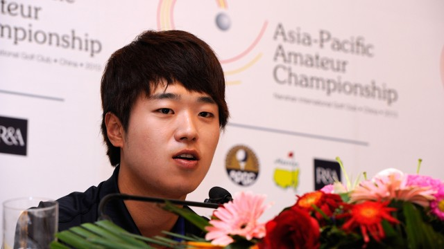 LONGKOU CITY, China: Lee Chang-woo of Korea is pictured during a press conference at the Asia -Pacific Amateur Championship at Nanshan International Golf Club, Garden Course during round three on Saturday, October 26, 2013. Picture by David Paul Morris/AAC.