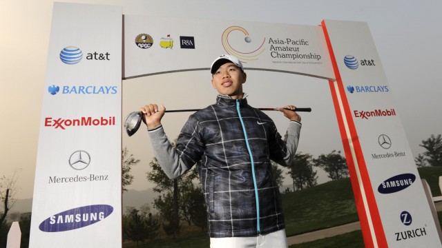 LONGKOU CITY, China – Guan Tianlang of China pictured at the Asia-Pacific Amateur Championship at the Nanshan International Golf Club, Garden Course on October 22, 2013. Picture by David Paul Morris/AAC.